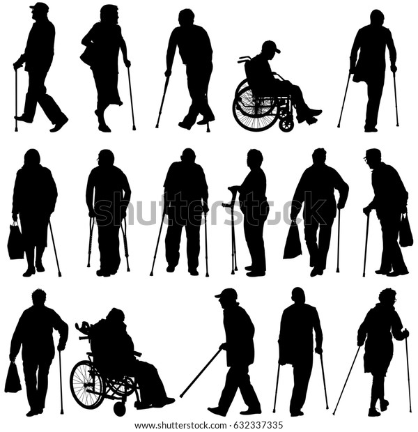 Set ilhouette of disabled people on a white background. illustration.