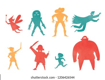 Set of illustrated silhouettes fairy tale characters including a fairy, an alien, a cowboy, a flying vampire, Peter Pan, a pirate, Tom Thumb and a cyclops.