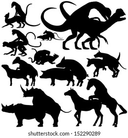 Set of illustrated silhouettes of various animals mating