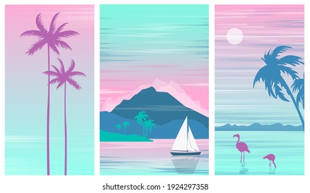Set illustration of a beautiful colorful seascape with a sailboat,palm trees and flamingos.