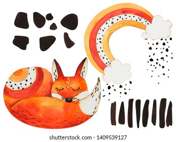 Set illustration fox and rainbow on isolated white background, watercolor hand drawing