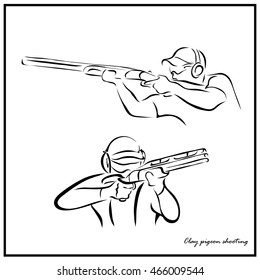 Set of a Illustration shows a kind of sport. Clay pigeon shooting