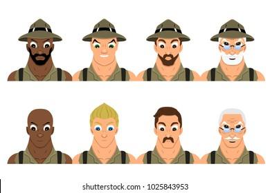 Set of illustrations with adventurers dressed in khaki shirts and hats, isolated on a white background