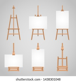 Set illustrations of canvases standing on wooden easels. Wood blank stand for drawing, equipment tripod with canvas