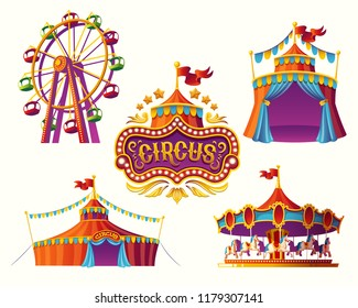 Set of illustrations of carnival circus icons with tent, carousels, flags isolated on white background.Print, design element.