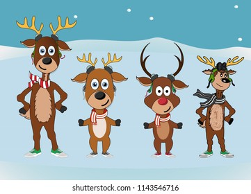 set illustrations character, mascots of funny reindeers. merry christmas and happy new year greeting. Drawn reindeers cute
