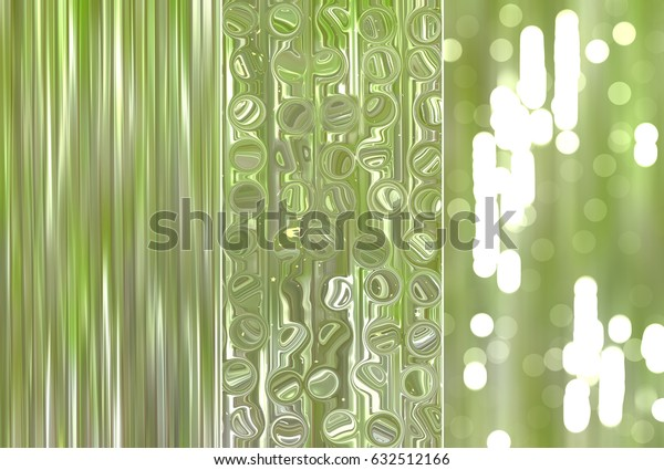 A set of illustrations with green abstract - three background