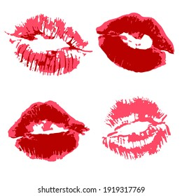 set of illustrations. Lips, kisses, lipstick. Collection of romantic elements for graphic design. Love