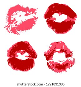 set of illustrations. Lips, kisses, lipstick. Collection of romantic elements for graphic design