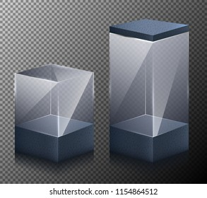 Set of illustrations of small and large realistic, glass, transparent cubes isolated on a gray background. 3d design.