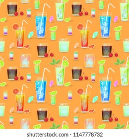 a set of illustrations or texture for fabric, different glass with mojito, lemon, cherry and umbrella. Tall glass are sturdy, straight and strong. Pattern for the fabric, texture for fabric,