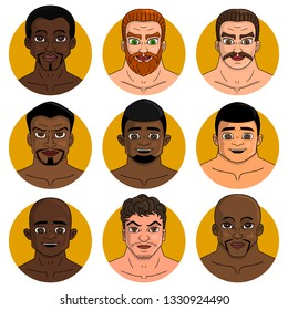 Set of illustrations with various faces of men, isolated on a white background