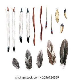 Set of Indian Accessories. Watercolor Illustration.