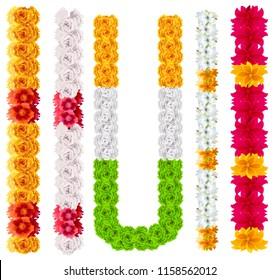 Set indian flower garland mala. Isolated on white illustration
