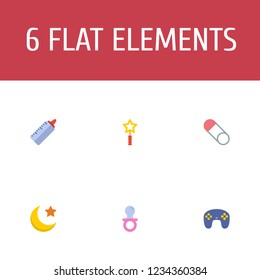 Set of infant icons flat style symbols with magic wand, brooch, joypad icons for your web mobile app logo design.