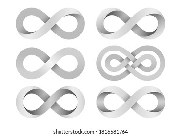 Set of Infinity signs made of different types of torsion and intersection. Mobius strip symbols. 3d illustration isolated on white background.