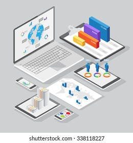 Set of infographics design elements on stationery and computer devices. Isometric style.
