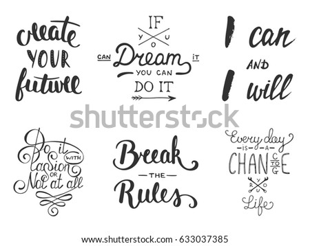 Set inspirational motivational lettering greeting cards stock set of inspirational and motivational lettering for greeting cards decoration prints and posters m4hsunfo