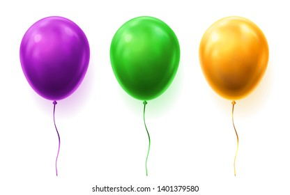 Set of isolated 3d balloons for party or happy birthday. Green and yellow, purple or violet gift for holiday and fun, joy. Bunch of colourful helium objects for celebration, festival, carnival,jubilee