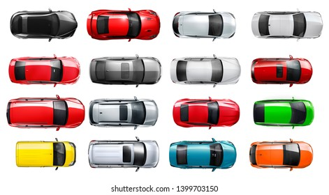 Set of isolated cars on top view - 3D illustation
