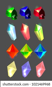 Set of isolated diamonds and stones for app user interface; transparent minerals, bright colorful nuggets, glow jewllery; natural  transparent crystals for mobile game interface; geology samples icons