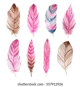 Set of isolated exotic watercolor feathers. Hand painted  colorful delicate feather clipart. Tribal boho aztec collection for card and invitation making