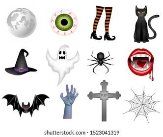 set isolated halloween elements illustration