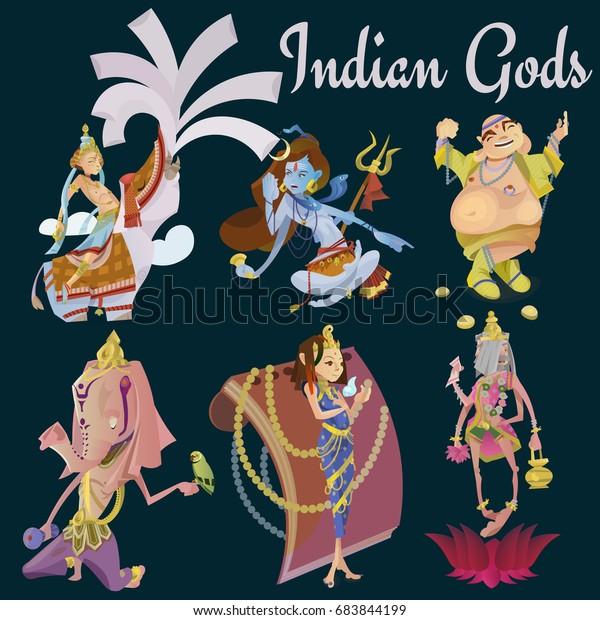 Set Isolated Hindu Gods Meditation Yoga Stock Illustration 683844199