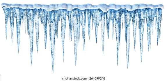 Set Isolated icicles. Three-dimensional icicles on white background. Digital icicles for design and decoration of New Year's greeting cards. Realistic 3D icicles in high resolution, high quality.