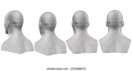 set of isolated male busts of mannequins on white background. 3D. Male bust from different sides. 3D illustration.