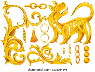 Set of isolated objects, golden elements in baroque, rococo style. Gold chains, jewelry, lion, tassel, heraldic elements, frame border scroll swirl ornament. Retro decorative design.
