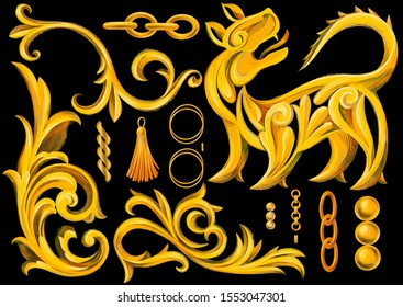 Set of isolated objects, golden elements in baroque, rococo style. Gold chains, jewelry, lion, tassel, heraldic elements, frame border swirl ornament. Retro decorative design.