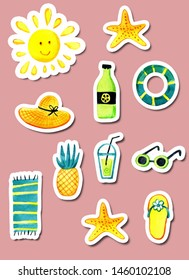 A set of isolated objects of summer theme watercolor. Stickers, elements for postcards. Bitmap sun, beach, summer, vacation, starfish, cocktail, towel, Slippers, pineapple, sunglasses.