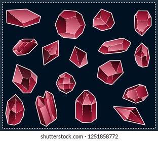 Set of isolated red crystals on a dark background