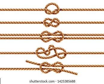 Set of isolated ropes with different knot types. Nautical thread or cord with sheet bend and overhand, granny and figure eight, square or reef knot. Two ropes knotted or whipcord intertwined. Marine