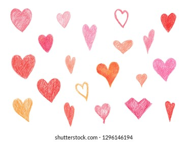 set of isolated several heart shape color pencil, valentine's day decoration illustration