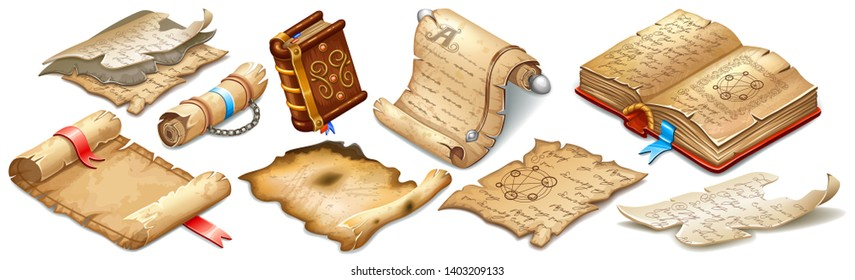 Set isometric books of magic spells and witchcraft, royal scrolls and parchments, old rice paper for computer game. Fairy tale icon in cartoon style. Isolated 3d illustration.