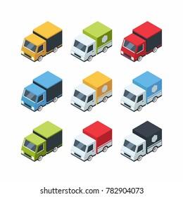 Set of isometric cartoon-style cargo cars. 3d transportation auto. illustration