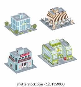 Set of Isometric different Building, bank, supermarket, cafe, cinema