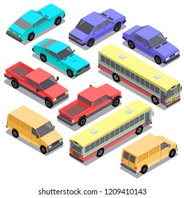 set of isometric urban transportation. Cars with shadows isolated on white background. Hatchback, pickup, sedan, bus, sport, retro, van automobiles in cartoon style. Collection of city vehicles