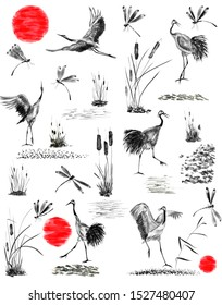 Set of japanese cranes, bulrush, grass and dragonflies.  Watercolor and ink illustration in style sumi-e, u-sin, go-hua. Oriental traditional painting. Isolated .