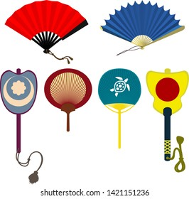 Set of japanese hand fans isolated on white background. Folding and rigid fans.