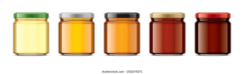 Set of Jar with Honey. 3d rendering.