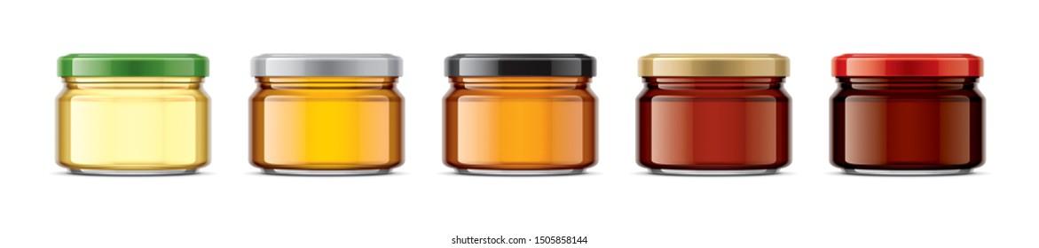 Set of Jar with Honey. 3d rendering