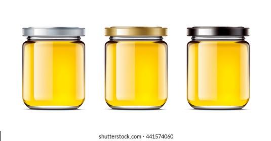Set jars of honey. 3d rendering illustration
