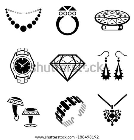 Set Jewelry Icons Collection Blackwhite Icons Stock Illustration
