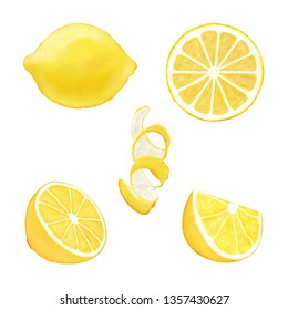 Set of juicy yellow whole lemon and slices of lemon isolated on a white background. Hand drawn watercolor elements for your design.