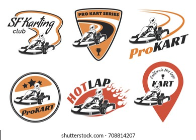 Set of kart racing emblems, logo and icons. illustration with karting elements. Kart racer with helmet.