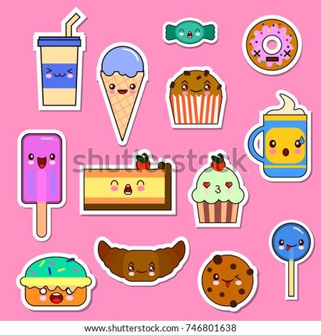 Set Kawaii Food Characters Sweets Candies Illustration De Stock De