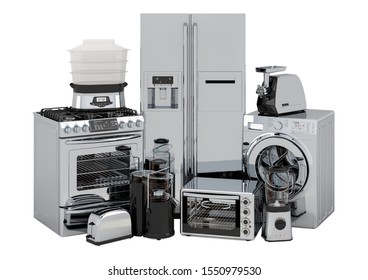Set of kitchen and home appliances in silver color, 3D rendering isolated on white background